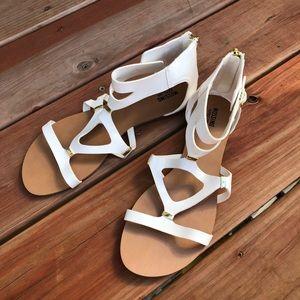 White & Gold Short Gladiator Sandals